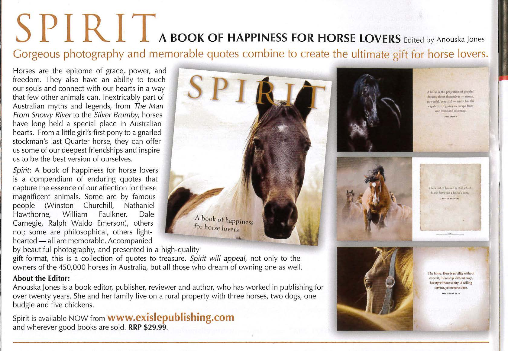 Spirit A Book Of Happiness For Horse Lovers Exisle Publishing