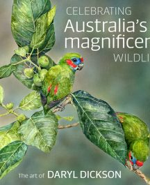 book cover celebrating australia's magnificant wildlife the art of daryl dickson picture of two tropical birds eating gum leaves